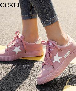 MCCKLE Autumn Women Sneaskers Plus Size Platform Flat Shoe Star Vulcanized Shoes Lace Up Female Casual Fashion Canvas Flats