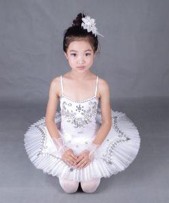 Girl Feather BallerinaTutu Costume Child Sequins White Swan Lake Tutu Dance Dress Ballet clothes for Kids Dress for Ballet 1