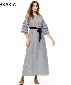 Siskakia Plaid long Dress Autumn 2018 Maxi Dresses loose large size women Dress Grey Fall Multilayer Ruffles slim sash design
