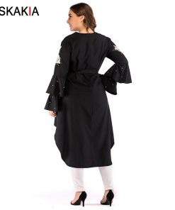 Siskakia Women Dresses Autumn 2018 Fashion Asymmetry cut rose Embroidery double flare long sleeve Beading design plus size Dress 1