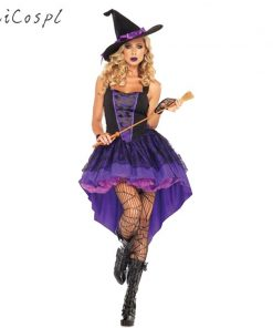 Plus Size XXL-S Halloween Witch  Adult Sexy Carnival Party Female Suit Costume For Women Purple Swallow Tail Braces Dress Hat