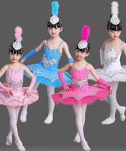 Sequin Bllet Tutu Swan Dance Skirt Girls Platter Tutu Dancing Dress for Kids White Pink Children Tutu Danse Classique Enfant