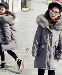 2018 Long Winter Coat Thickening Children Girls Hooded Jackets Fashion Warm Coats Cotton down Padded Kids Overcoat -30 Degrees 1