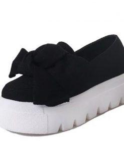 MCCKLE Women Creeper Fashion Autumn Bowtie Flat Platform Shoes For Woman Shallow Slip On Ladies Moccasins Flock Female Footwear 1
