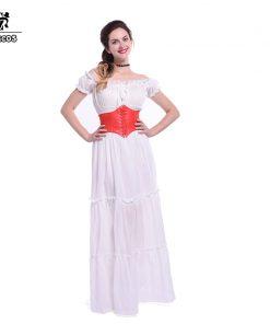 Rolecos Brand 2017 Off Shoulder Strapless Cotton Evening Dress Women High Waist Tunic Long Dress Ball Gown Dress for Halloween