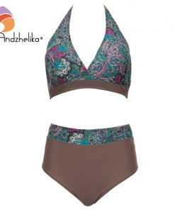 Andzhelika Plus Size Swimwear High Waist Swimsuit Deep-V Bikini New Vintage Print Floral Bikini Bathing suit female swimwear 5XL 1