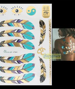 1PC Flash Gold Silver Metallic Waterproof Tattoo Women Henna VT341 Blue Feather Gold Eye Eight Diagrams Temporary Tattoo Sticker