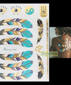 1PC Flash Gold Silver Metallic Waterproof Tattoo Women Henna VT341 Blue Feather Gold Eye Eight Diagrams Temporary Tattoo Sticker