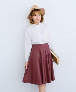 Danjeaner Women Autumn Winter Vintage High Waist PU Leather Skirts Female Casual Knee-Length Elastic Waist Midi Skirts  1