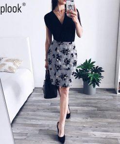 Toplook Floral Button Women Skirt 2018 Summer High Waist Mini A-Line Skirts Casual Fitness Office Lady Skirt