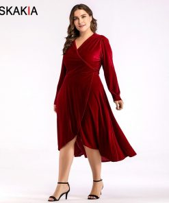 Siskakia Asymmetry cut Velvet Dress Mid-Calf V neck long sleeve women dresses Autumn Fall 2018 solid plus size dress slim sashes