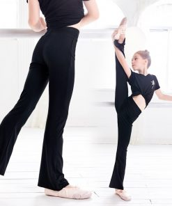 Girls Casual Loose Black Cotton Pants Gymnastics Fitness Ballet Dance Pants Flare Trousers For Children