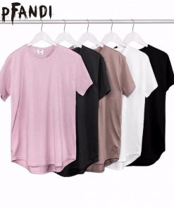 HIPFANDI 2018 Summer Pure T-shirt pink black Wholesale Extended Long T shirt Mens Hip Hop New design Street Men Cheap T shirt