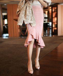 2018 High Waist Sexy Hip Package Women Pencil Skirt Saias Women Summer Mermaid Skirt Faldas Women Suede Skirt Jupe Clothes 1