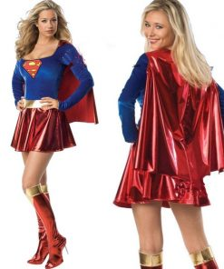 DJGRSTER 2018 Adult Supergirl Cosplay Costume Super Woman Superhero Sexy Fancy Dress With Boots Halloween Costumes For Women