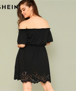 SHEIN Solid Ruffle Off the Shoulder Plus Size Scalloped Hem Elegant Women Dress 2018 Summer Short Sleeve Casual Bardot Dresses 1