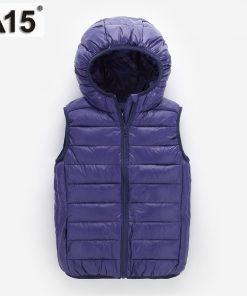 A15 Kids Vest Children Girls Vest Hooded Jacket Winter Spring Waistcoats for Boy Baby Outerwear Coats Big Teens 4 5 8 10 12 Year