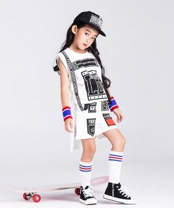 New Children hip hop White Suit Break Dancing girl
