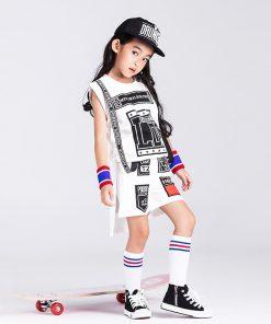 New Children hip hop White Suit Break Dancing girl  Jazz Dancers girls' modern dance costumes. 1