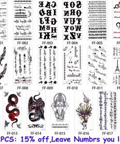 glaryyears 26 Designs 1 Sheet Fake Black Alphabet Body Tattoo Sticker New Temporary Waterproof Arm Neck DIY Art for Women Men FF 1