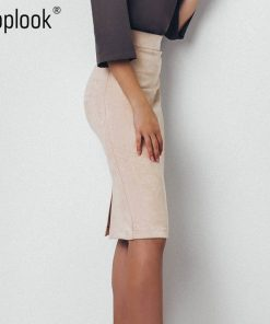 Toplook Split Vintage Suede Bodycon Skirt 2018 High Waist Women Knee Length Pencil Skirt Solid OL Office Elegant Skirts Womens  1
