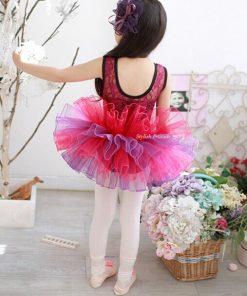 Kids Ballet Tutu Dance Skirt Short Sleeve Lace  Princess Dancing Dress Party Costume Clothes 1