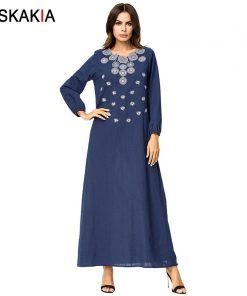 Siskakia solid geometry embroidery Maxi long dress Brief Elegant Urban Casual women dresses Autumn 2018 Slim plus size 3XL 4XL