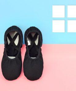 Professional Children Cotton Canvas Flexible Ballet Dance Shoes Girls Kids Soft Sole Flat Shoes For Dance 1