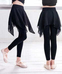 Girls Fitness Cotton Ballet Dance Pants Lyrical Chiffon Skirt Gymnastics Yoga Practicing Leggings For Children 1