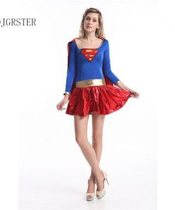 DJGRSTER 2018 Adult Supergirl Cosplay Costume Super Woman Superhero Sexy Fancy Dress With Boots Halloween Costumes For Women 1