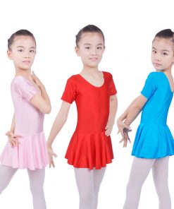 Kids Girls Gymnastics Short Sleeve Ballet Dance Outfit Leotards with Skirt Dress
