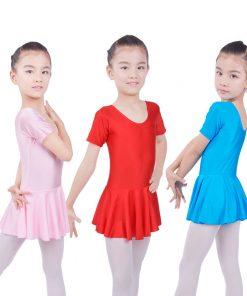 Kids Girls Gymnastics Short Sleeve Ballet Dance Outfit Leotards with Skirt Dress