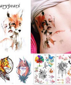 New Arrival 1 Sheet Temporary Tattoo Sticker KM-056 Flower Arm Body Art Waterproof Tattoo Beauty Fox Women Coquette Decal Design