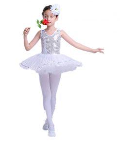 Sequins Girls Lace Ballet Dance Gymnastics Leotard Dress Children Dance Costumes Female Ballet Princess Skirt