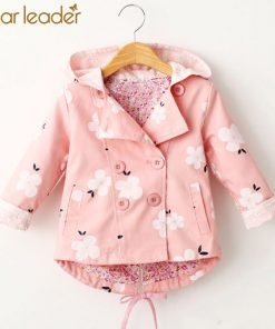 Bear Leader Girls Coats 2018 New Antumn Fashion Floral Print Hooded Coats Full Sleeves Double-Breasted Kids Coats For 2T-6T