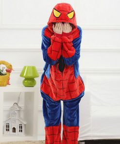 Spiderman Pajama Female Onesie Anime Cosplay Costume Winter Warm Flannel Super Hero Nightwear Cartoon Mascot Kigurumi Fancy  1
