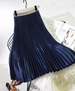 2018 Winter Women Elegant Pleated Skirt Elastic High Waist Women Long Skirt Female Autumn Ladies High Quality Midi Skirt Saia