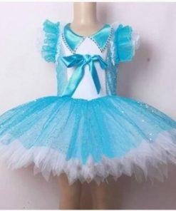 Little Swan Dance Costumes Ballet Dress for Girls Blue Veil Short Sleeve Princess Meninas Saia Ballet Dance wear