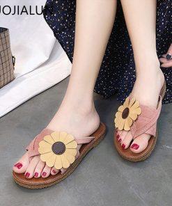SUOJIALUN 2018 New Women Bow Slippers Fashion Flowers Beach Slippers Home Flip Flops Comfortable Flat Shoes Women Sandals