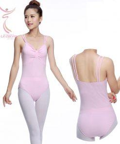 Ballet Dancers Wear Sexy Front Adult Double Strap Pink Gymnastics Leotard