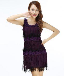 Women 1920s Beaded Fringe Scalloped Petal Gatsby Flapper Dress Costume Tiered Tassels Appliques Flower Summer Party Dress
