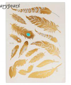 1PC Flash Metallic Waterproof Tattoo Gold Silver Women Fashion Henna YS-51 Peacock Feather Design Temporary Tattoo Stick Paster
