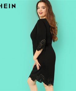 SHEIN Black O Neck High Waist Elegant Plus Size Pencil Dresses Women Autumn Three Quarter Sleeve Knee Length Scallop Hem Dress  1