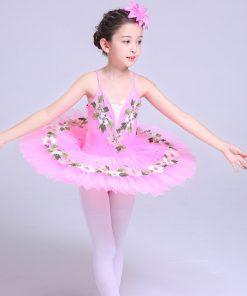 White Pink Platter Tutu Ballet Costumes for Girls Kids Straps Tutu Dress Ballet Dancewear Children Perform Dance Clothes 1
