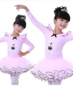 New Girls Ballet Tutu Long Sleeve Princess Dancing Dress Kids Ballet Outfit with bow knot