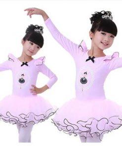 New Girls Ballet Tutu Long Sleeve Princess Dancing Dress Kids Ballet Outfit with bow knot