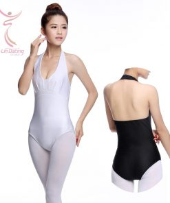 Ladies Bodysuit Halter Neck Women Backless Top Dance Leotards Dancewear Practice Costume