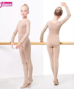 Girls Keep Warm Ballet Underwear Thick Velvet Nude Leotard Good stretch Dance Wear 1