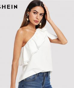 SHEIN Beige Party Sexy Elegant Backless Ruffle Trim Knotted One Shoulder Solid Top Summer Women Weekend Casual Going Out Vest 1
