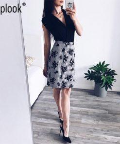 Toplook Floral Button Women Skirt 2018 Summer High Waist Mini A-Line Skirts Casual Fitness Office Lady Skirt 1